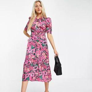 Hope & Ivy puff sleeve midi dress bright fuchsia